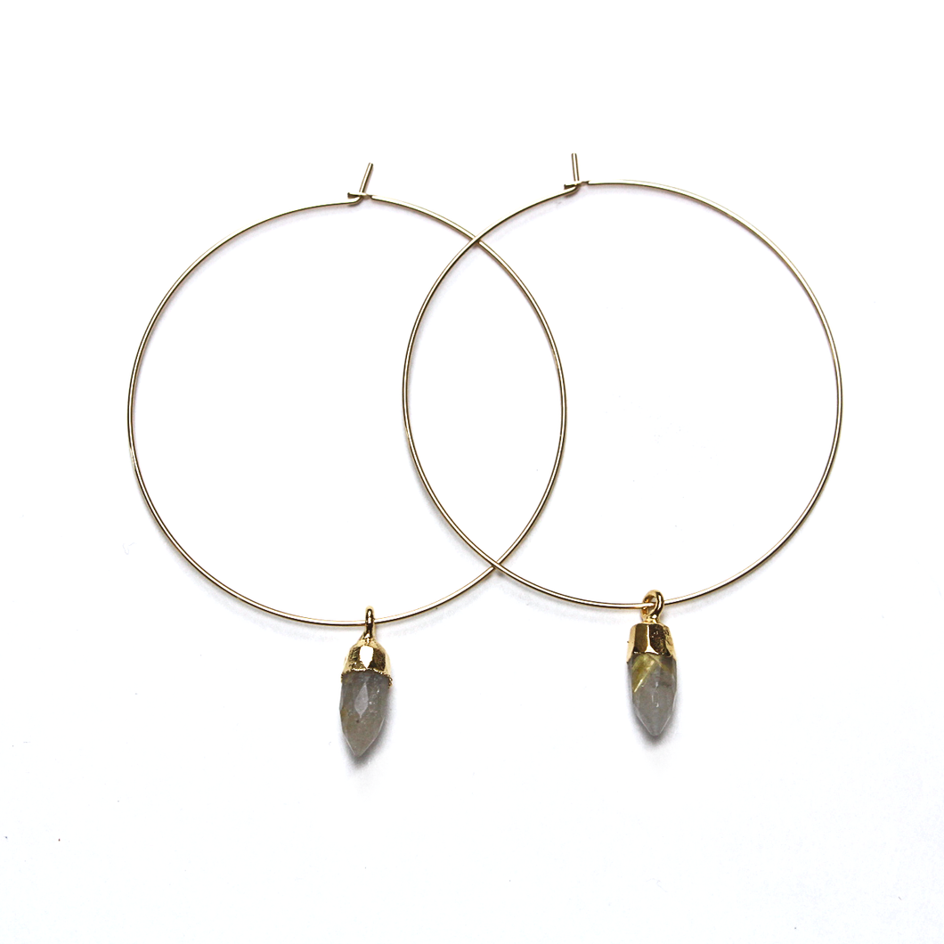 Chloe Gold Quartz Hoops