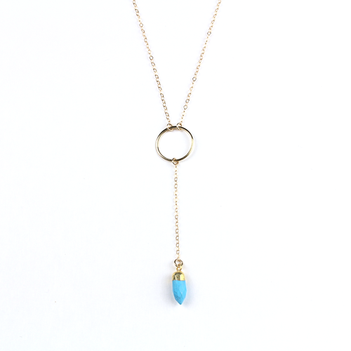 Gia Gold Turquoise Y Necklace