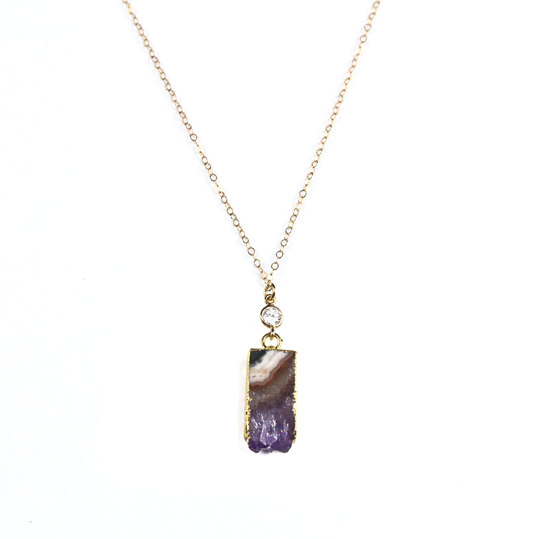 Cleo Amethyst Slice Necklace