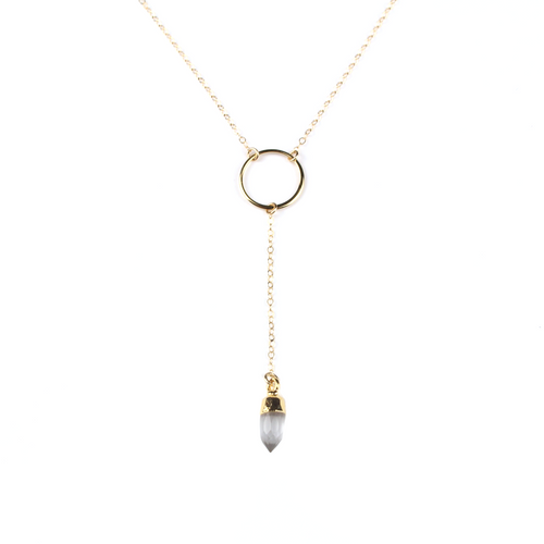 Gia Gold Clear Quartz Y Necklace