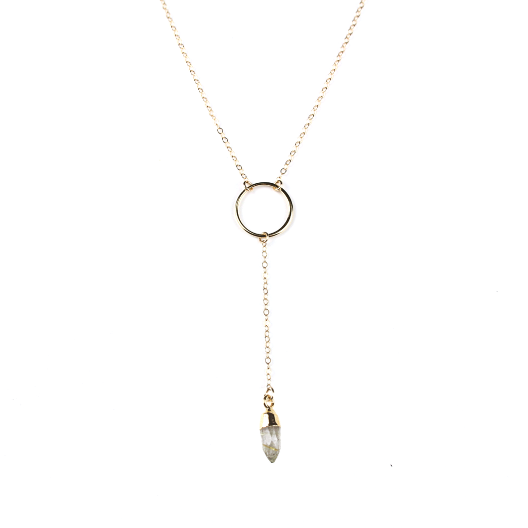 Gia Gold Rutilated Quartz Y Necklace