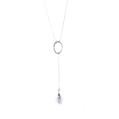 Gia Silver Rutilated Quartz Y Necklace