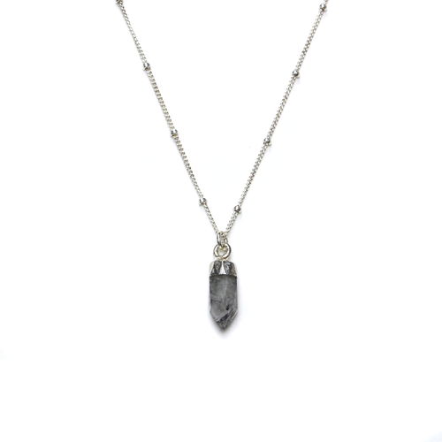 Stella Silver Rutilated Quartz Satellite Necklace