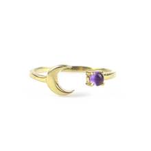 Amethyst Crescent Moon Ring
