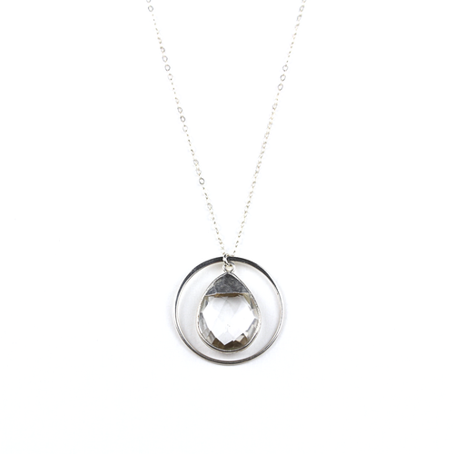Crystal Silver Quartz Halo Necklace