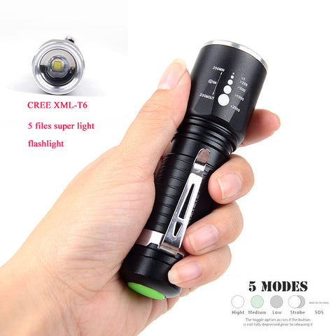 LED Tactical Flashlight (8000 Lumens, not ANSI): CREE XM-L2, Zoomable, 5 Modes, Aluminum
