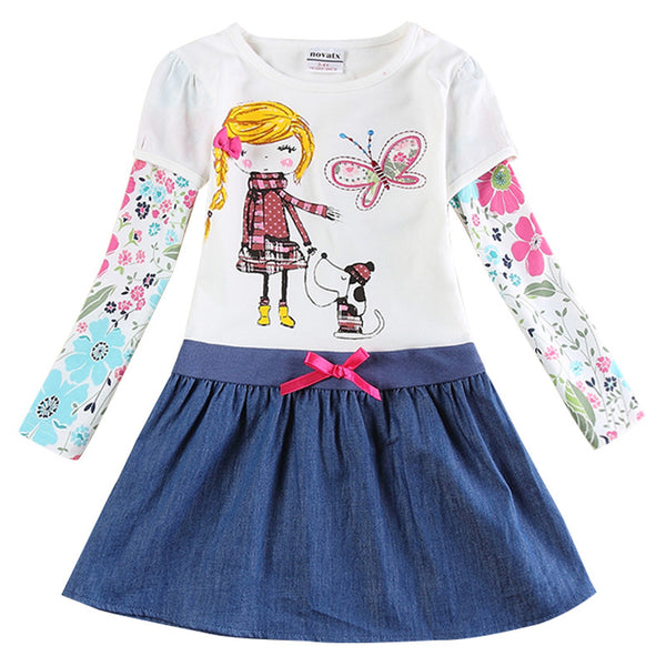 Little Girl's Dress. Long Sleeve Nova Floral Pattern ( 2016 )
