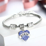 Beautiful Engraved Heart Shape, Nurse, Statement Bracelet. Full Crystal.