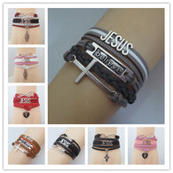 Christian Cross, Believe, Love, Faith in Jesus Awareness/Statement Bracelets. Wrapped Leather.