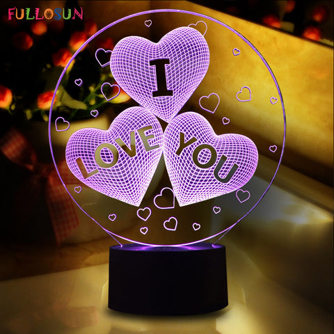 Magical Optical Illusion 3D LED Lovers Heart Night Light. USB Table Lamp.
