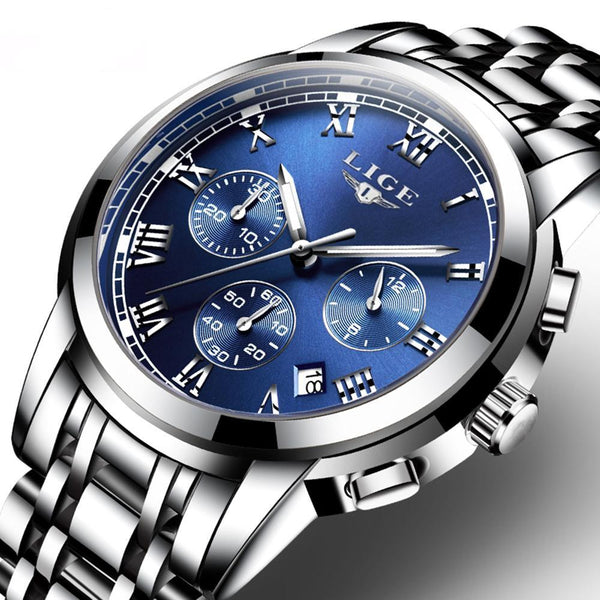 Executive Men Watch. Multifunction, Chronograph, Quartz, Military Type, Sport Wristwatch.