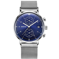 Executive & Simply Stylish Luxury Watch for Men. Stainless Steel, Water-Proof, Mesh Strap, Quartz-watch (Thin Dial Clock)