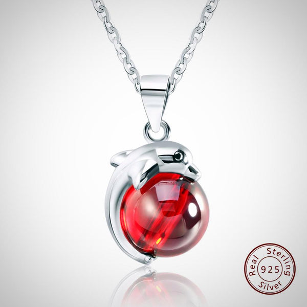 Sterling Silver, Red Natural-Stone Dolphin Pendant. Necklaces for Women.