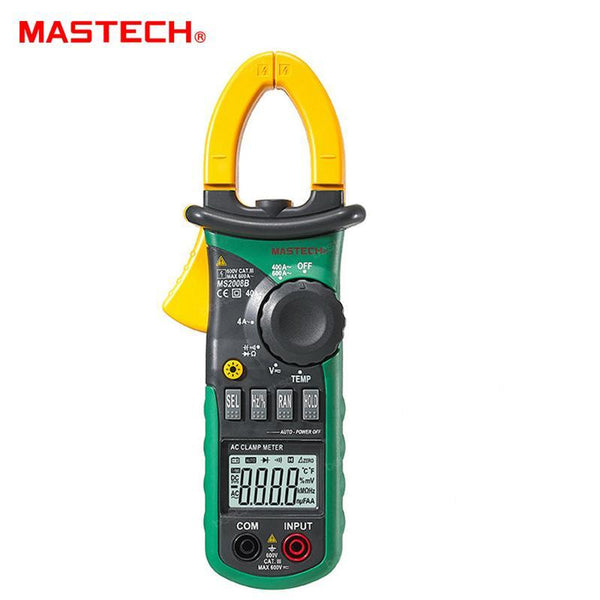 MASTECH Digital Current Clamp Meter, Multimeter, AC Current, AC/DC Voltage, Capacitor, Resistance Tester (MS2008B)