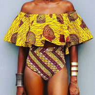 African Tribal, High Waist, Swimsuit. Off-Shoulder Swimwear for Women  (2017)