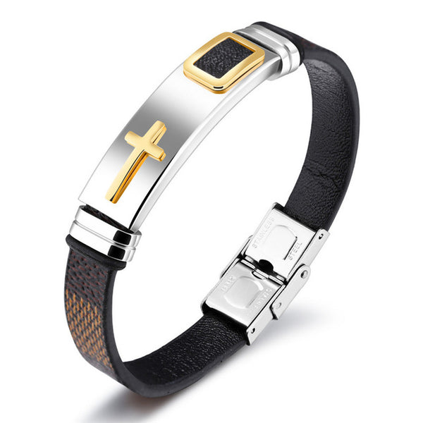 Brown & Black Leather Cross Bracelet for Men (2017)