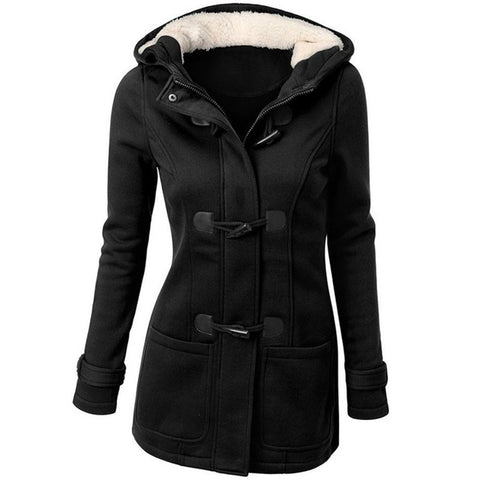 Women's Causal Overcoat for Autumn or Winter. Hooded, Coat Zippered, Horn Buttons.