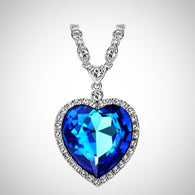 """Titanic Ocean Style Heart Necklace Pendant"". Colorful Austrian Crystals (Available in 3 colors)"