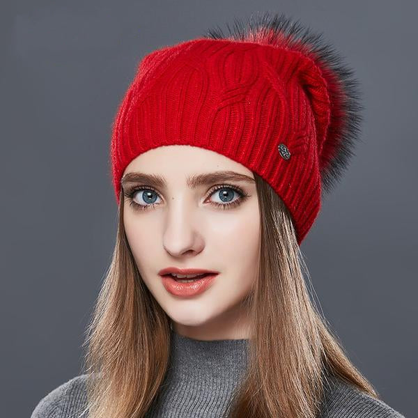 High Quality Cashmere, Women, Winter, Stylish, Beanie Hat.  (Fur Pom Poms - 2017)