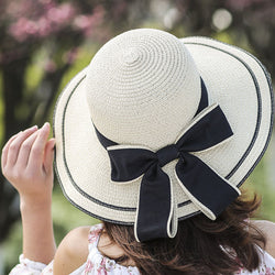 New Sunscreen Ladies Summer, Straw Hat. Stripes with Big Bow, High Quality.