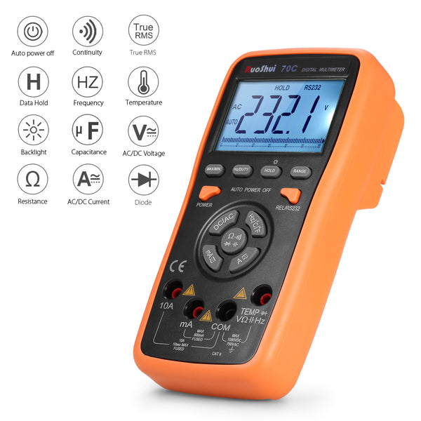 Digital Multimeter, DC/AC Voltmeter, Ammeter, Resistance, Diode, Capacitance, Frequency, Temperature