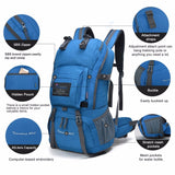Waterproof, High Quality Polyester, Travel Backpack. Internal Frame for Camping, Hiking, Outdoors ( 40L w/ Rain Cover)