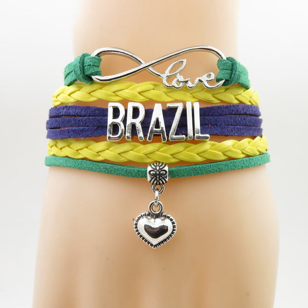 Brazil Infinity Bracelet. Show Your Solidarity and/or Pride.
