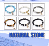 Natural Stone Bracelets For Women. Gold color Heart, Love Bracelet/Bangle