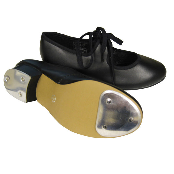 BLACK PU LOW HEEL TAP SHOES WITH HEEL AND TOE TAPS - Click Dancewear