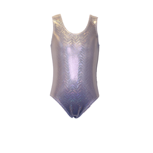 GOLD SHINY HOLOGRAM PRINT SLEEVELESS DANCE DISCO LEOTARD GIRLS CHILDRENS - Click Dancewear - 1
