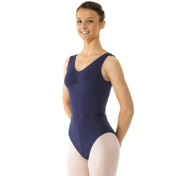 TAPPERS & POINTERS SLEEVELESS COTTON RUCHED FRONT LEOTARD
