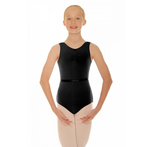 BLACK COTTON LEOTARD WITH GATHERED BUSTLINE AND A BELT