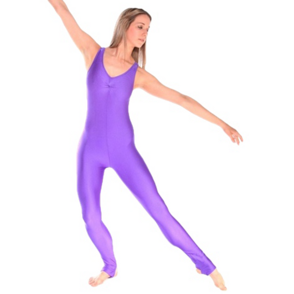 DEBBIE - ARABESQUE SLEEVELESS GATHERED FRONT CATSUIT - PURPLE SIZE 2 (AGE 8-9)
