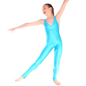 DEBBIE - ARABESQUE SLEEVELESS GATHERED FRONT CATSUIT - TURQUOISE SIZE 1 (AGE 6-7)