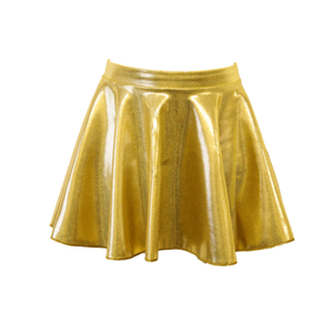 GIRLS CHILDREN'S SHINE SHORT CIRCULAR DANCE/BALLET/DISCO SKIRT PINK OR GOLD - Click Dancewear - 2