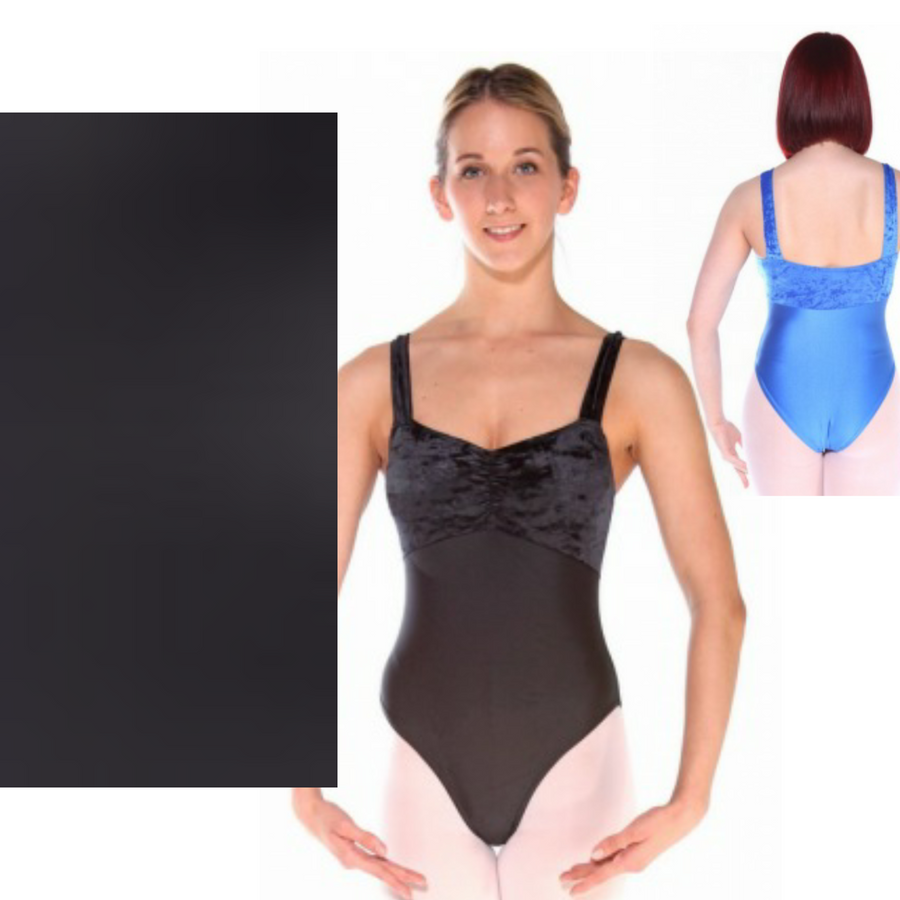IRIS - BLACK WIDE STRAP RUCHED FRONT LEOTARD - SIZE 5 (DRESS SIZE 12-14)