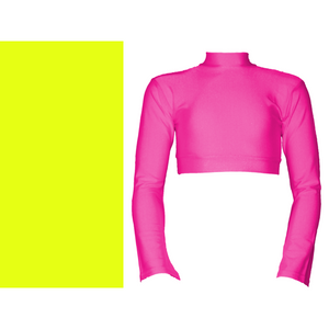 JEMMA - LONG FLARED SLEEVE POLO NECK CROP TOP