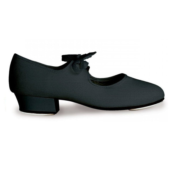 ROCH VALLEY BLACK CANVAS TAP SHOES WITH FITTED HEEL AND TOE TAPS