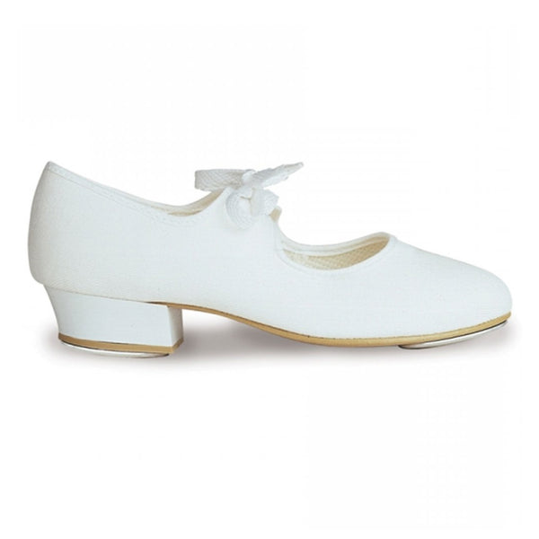 ROCH VALLEY WHITE PU TAP SHOES WITH FITTED HEEL AND TOE TAPS