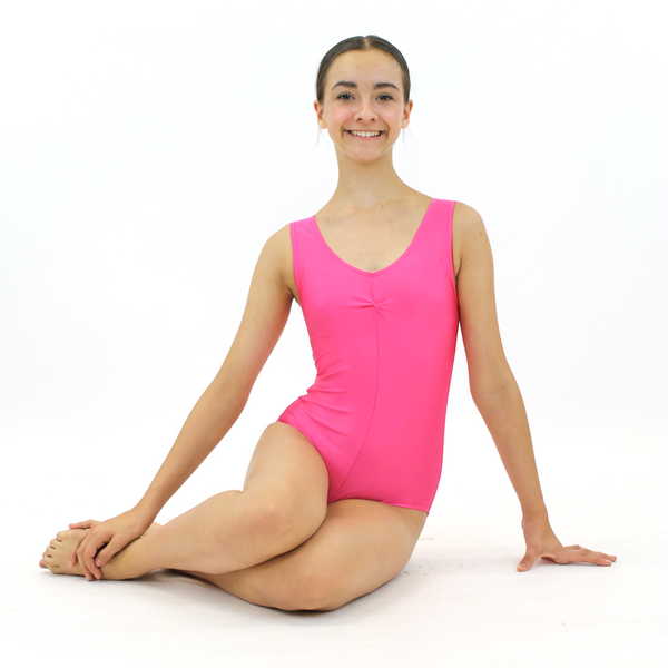 LOUISE - SLEEVELESS GATHERED FRONT LEOTARD - NEON COLOURS