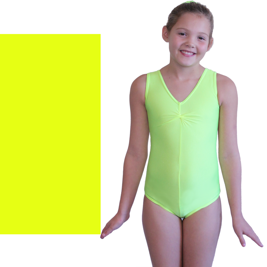 LOUISE - SLEEVELESS GATHERED FRONT LEOTARD - NEON COLOURS - Click Dancewear - 1