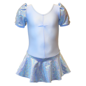 MILLIE - FROZEN HOLOGRAM SHINE PUFF SLEEVE SKIRTED LEOTARD