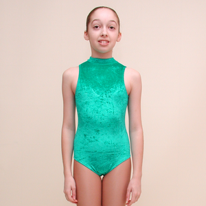 SHARON - VELOUR SLEEVELESS POLO NECK LEOTARD IN DEEP COLOURS