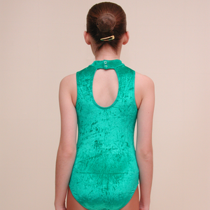 VSHARON - VELOUR SLEEVELESS POLO NECK LEOTARD IN DEEP COLOURS