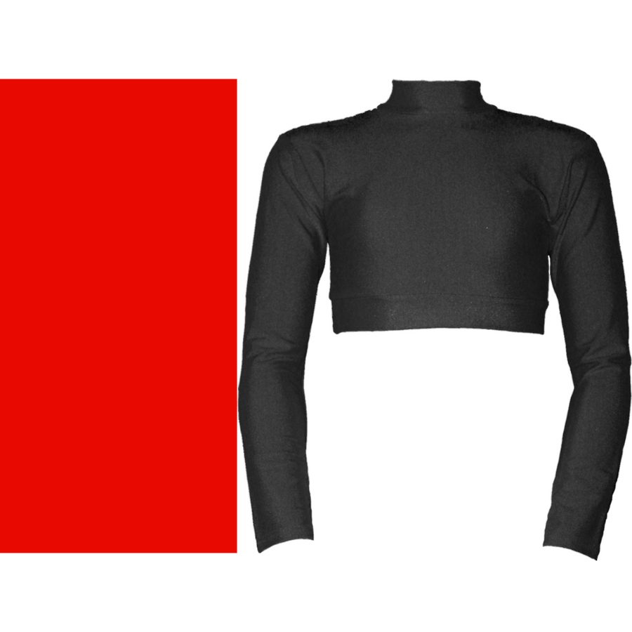 PAIGE - LONG SLEEVE POLO NECK CROP TOP