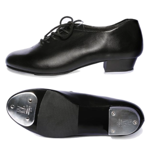 UNISEX BLACK LEATHER LOOK OXFORD TAP SHOES WITH HEEL AND TOE TAPS