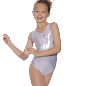 ROCH VALLEY SILVER SHINY METALLIC SLEEVELESS LEOTARD WITH FRONT GATHER - SIZE 3