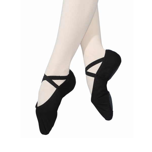 ROCH VALLEY BLACK STRETCH CANVAS SPLIT SOLE BALLET SHOES