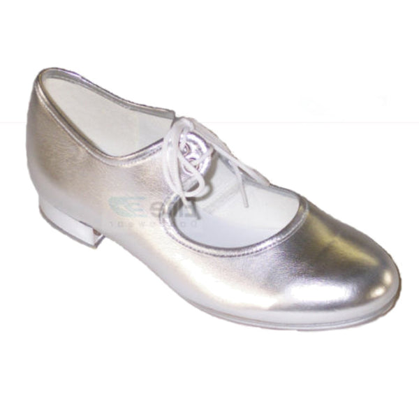 SILVER PU LOW HEEL TAP SHOES
