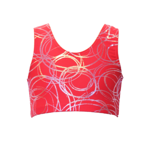 SUZI RED SWIRL SLEEVELESS CROP TOP - Click Dancewear